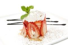 kremowego deseru truskawka Fotografia Royalty Free