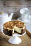 Kremowy cheesecake z całą zbożową banatką, kremowy deser Obraz Stock