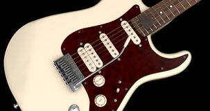 Kremowy gitary elektrycznej zbliżenie Fotografia Stock