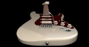 Kremowy gitary elektrycznej zbliżenie od mosta Fotografia Royalty Free