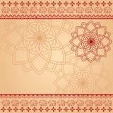 Kremowy i czerwony henny mandala i słonia tło Obraz Stock