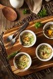 Kremowy jajko Piec w Ramekin zdjęcia royalty free