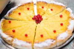 Kremowy kulebiak z czerwonym cranberry kolorem żółtym Zdjęcia Royalty Free