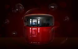 Kremowy zbiornik butelki egzamin próbny up Kosmetyczny kremowy szklanej butelki szablon Piękno twarzowa śmietanka w słoju 3D ilus Obraz Royalty Free
