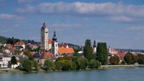 Krems and Stein on Danube stock footage