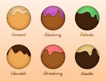 kremy szyszek t?a czekoladowe lody lodu nad pistacjowym waniliowym truskawkowy white Set lato słodkość z gofr teksturą royalty ilustracja