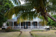 Kreolisches Haus im Hafen Mathurin, Rodrigues Island, Mauritius stockfotografie
