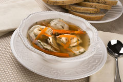 Kreplach in Chicken Soup Stock Photos