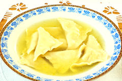 Kreplach - Jewish ravioli in chicken soup Royalty Free Stock Image
