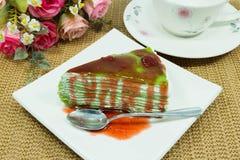 Kreppkuchen des grünen Tees Stockbild