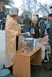 Kreshchenya (Epiphany) morgon i Kiev, Ukraina Arkivbilder