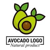 Kreskówek avocados z liścia wektoru ustalonym logo ilustracji
