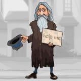 Kreskówka bezdomny szary z włosami mężczyzna błaga dla datków na ulicie ilustracji