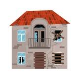 Kreskówka koloru Stary dom na bielu wektor royalty ilustracja