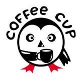 Kreskówka pingwin z filiżanka kawy Tekst - filiżanka ilustracji