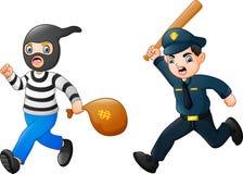 Kreskówka policjant goni złodzieja ilustracja wektor