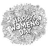 Kreskówek śliczni doodles wręczają patroszoną Szczęśliwą kobieta dnia inskrypcję Obrazy Stock