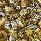 Kreskówek śliczni doodles wręczają patroszonemu Herbacianemu domowi bezszwowego wzór Obrazy Royalty Free