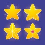 Kreskówek żółte glansowane gwiazdy na ciemnym tle, wektorowe błyszczące ikony Ilustracji