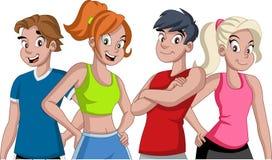 Kreskówek atlety Biegaczów charaktery jest ubranym sporta strój ilustracja wektor