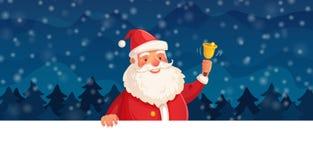 Kreskówek boże narodzenia Święty Mikołaj Zima wakacje, Szczęśliwa nowy rok rama lub Xmas chodnikowiec wektorowy tło, ilustracja wektor