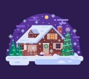 Kreskówek bożych narodzeń dom Śnieżną zimy nocą ilustracji