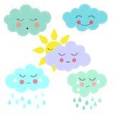 kreskówek chmury i słońce Fotografia Stock