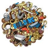 Kreskówek doodles śliczna ręka rysująca Budujący ilustrację Obraz Stock