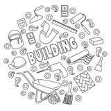 Kreskówek doodles śliczna ręka rysująca Budujący ilustrację, Zdjęcie Royalty Free