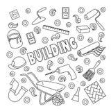 Kreskówek doodles śliczna ręka rysująca Budujący ilustrację, Obrazy Stock