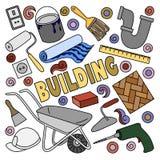 Kreskówek doodles śliczna ręka rysująca Budujący ilustrację Zdjęcie Royalty Free