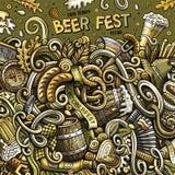 Kreskówek doodles fest ramy śliczna ręka rysujący Piwny projekt Obraz Stock