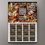 Kreskówek doodles jesień 2018 rok kalendarza szablon Angielszczyzny, Niedziela początek Obrazy Stock