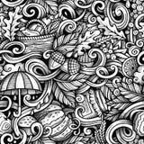 Kreskówek doodles ślicznej jesieni bezszwowy wzór Obrazy Royalty Free