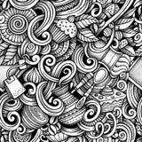 Kreskówek doodles pociągany ręcznie herbata i kawowy bezszwowy wzór Obraz Stock