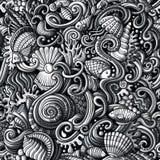 Kreskówek doodles pod wodnego życia bezszwowym wzorem Obraz Royalty Free