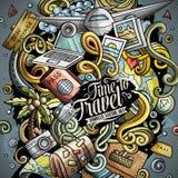 Kreskówek doodles podróży wektorowa ilustracja Zdjęcia Royalty Free