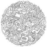 Kreskówek doodles podróży wektorowa ilustracja Obrazy Stock