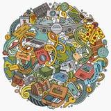 Kreskówek doodles podróży wektorowa ilustracja Fotografia Royalty Free