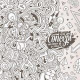 Kreskówek doodles pojęcia pociągany ręcznie ilustracja Fotografia Stock
