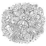 Kreskówek doodles wiosny śliczna ręka rysująca ilustracja Zdjęcia Royalty Free