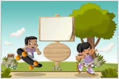 Kreskówek dzieci bawić się royalty ilustracja