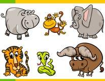 Kreskówek dzikich zwierząt śmieszni charaktery ustawiający royalty ilustracja