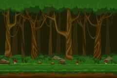 Kreskówek gier komputerowych nocy lasu krajobraz Fotografia Stock
