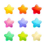 Kreskówek glansowane kolorowe gwiazdy ustawiać Zdjęcie Stock