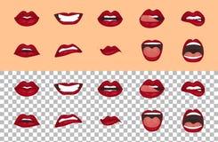 Kreskówek ikony ustawiać odizolowywać Śliczny usta wyrażeń twarzowych gestów warg smucenia zachwyta rozczarowania strachu niespod Zdjęcia Royalty Free