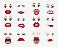Kreskówek ikony ustawiać odizolowywać Śliczny usta wyrażeń twarzowych gestów warg smucenia zachwyta rozczarowania strachu niespod Zdjęcie Stock