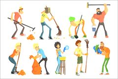 Kreskówek kobiety i w domu i outdoors Śmieszni ludzie charakterów z różnorodnego wyposażenia Kolorowym mieszkaniem royalty ilustracja
