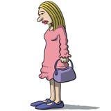 Kreskówek kobiety smutne i przygnębione Zdjęcie Royalty Free