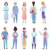 Kreskówek lekarki Medycznych pracowników drużyna Personel szpitala ustawiający odizolowywającym royalty ilustracja